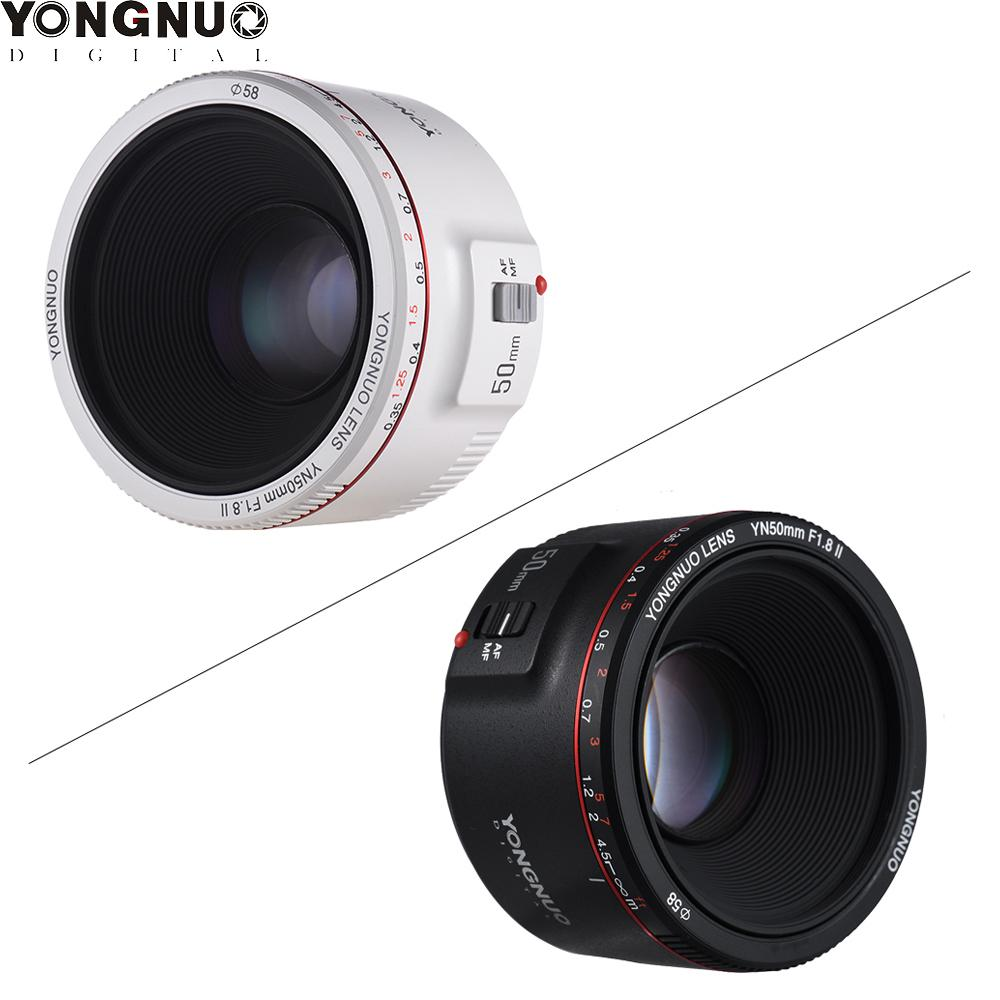 YONGNUO YN50mm F1.8 II Black/White Prime Lens Large Aperture Auto Focus 0.35 Focal Length for Canon EOS 70D 5D2 DSLR Camera