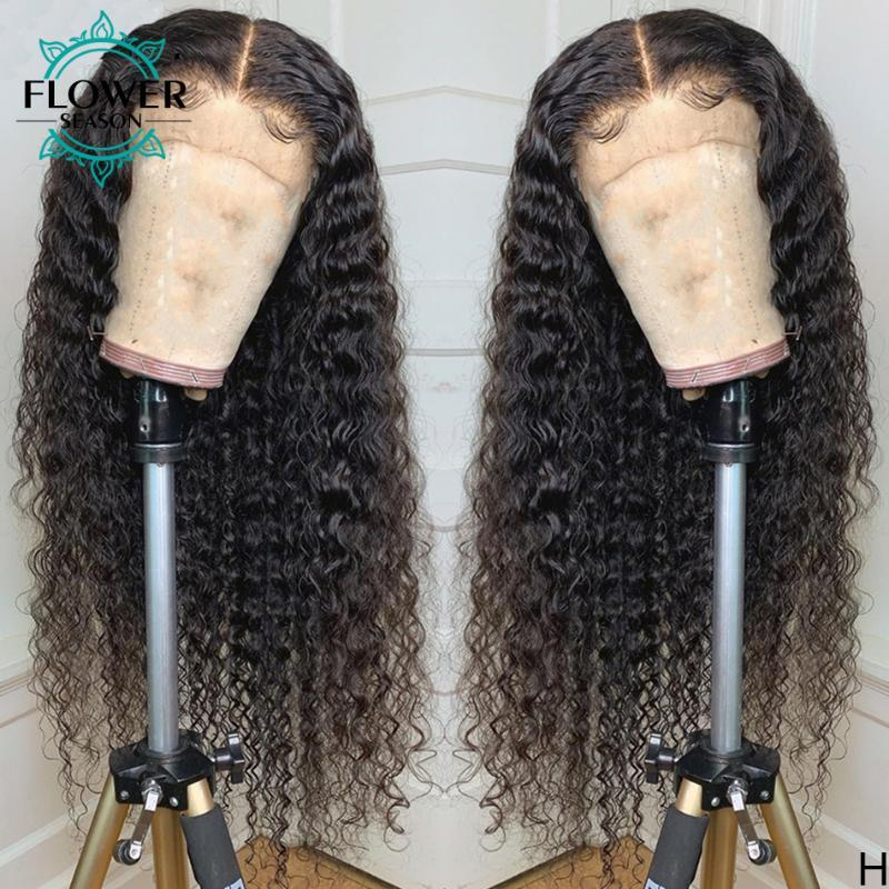Cabello humano rizado pelucas llenas del cordón con el bebé sin cola de pelo rizado peluca mano atada brasileños Remy blanqueados nudos 130% FlowerSeason