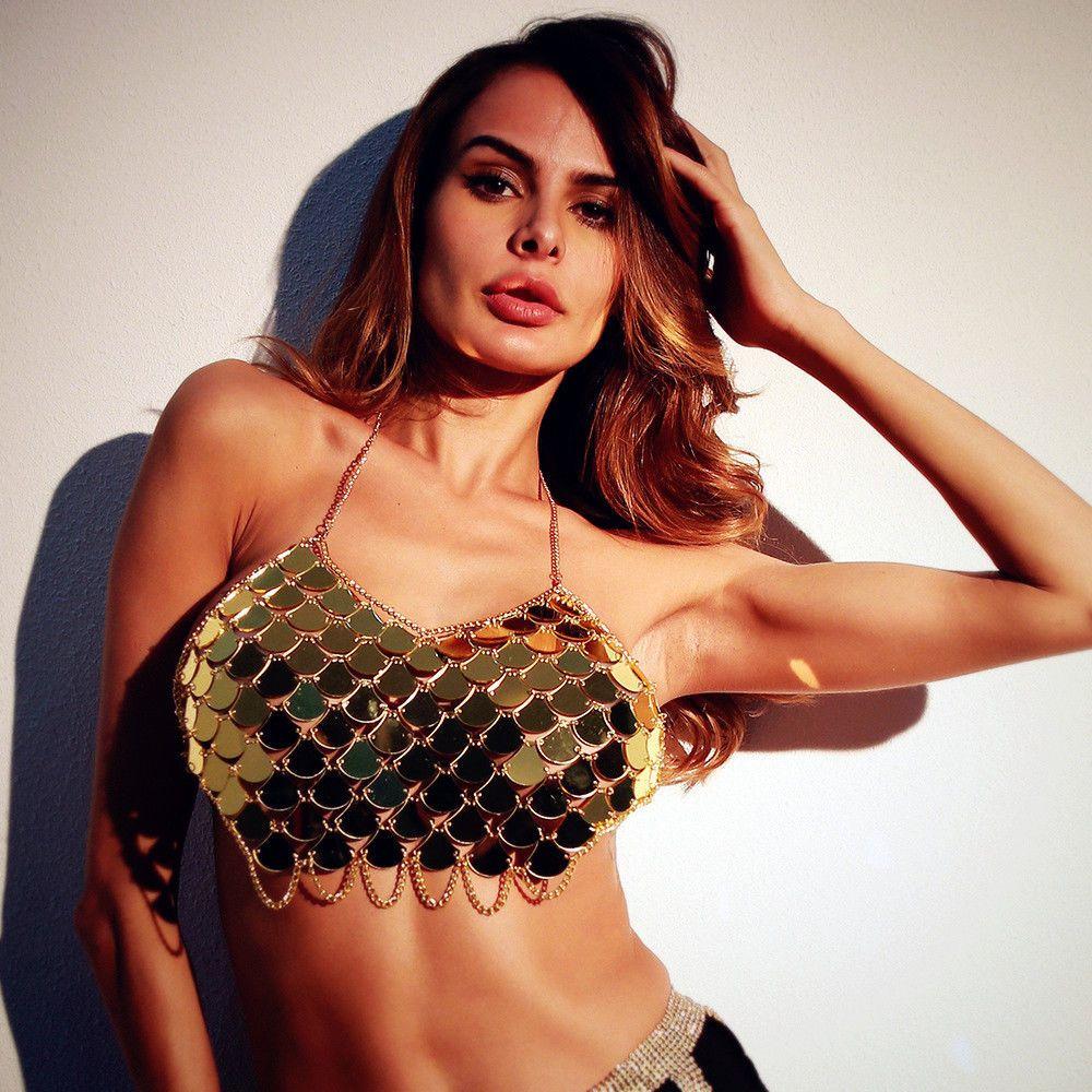 Mulheres Verão Sereia Praia Camis Sequin Colheita Tops Sem Encosto Halter Bralette Party Club Camisole