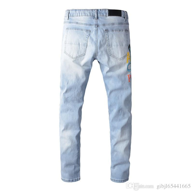 Marca 2019 NEW Am Mens guindaste rasgado Biker Jeans Magro Motociclista Denim Men Fashion Designer Hip Hop Mens Street Pop Jeans Size 28-40
