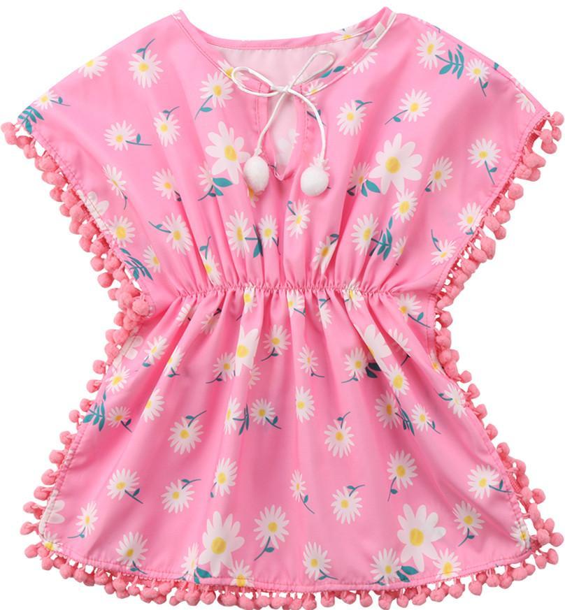 حار الاطفال طفل الفتيات بيكيني الصلبة الشرابة ملابس الصيف شاطئ قطعة واحدة زهرة فساتين المايوه لطيف ملابس السباحة