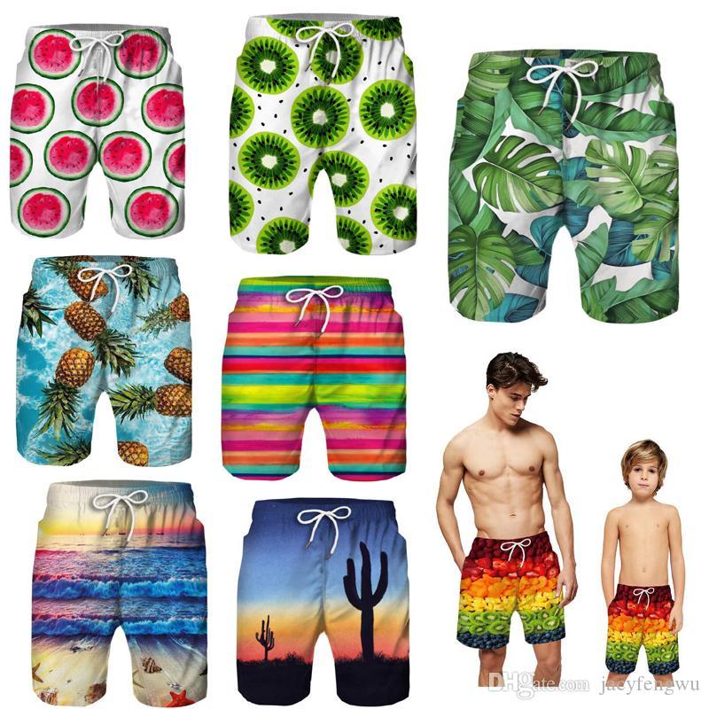Padre e hijo, ropa familiar, juego de playa, pantalones cortos, niños impresos, 2 capas, pantalones cortos, traje para bebés, niños, vacaciones de verano, pantalones de playa para niños XZT078