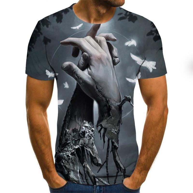 2020 t-shirt novos do crânio 3D camisa do punk t Men Impresso Casual T-shirt O Neck Hip Hop manga curta Tamanho XXS-6XL