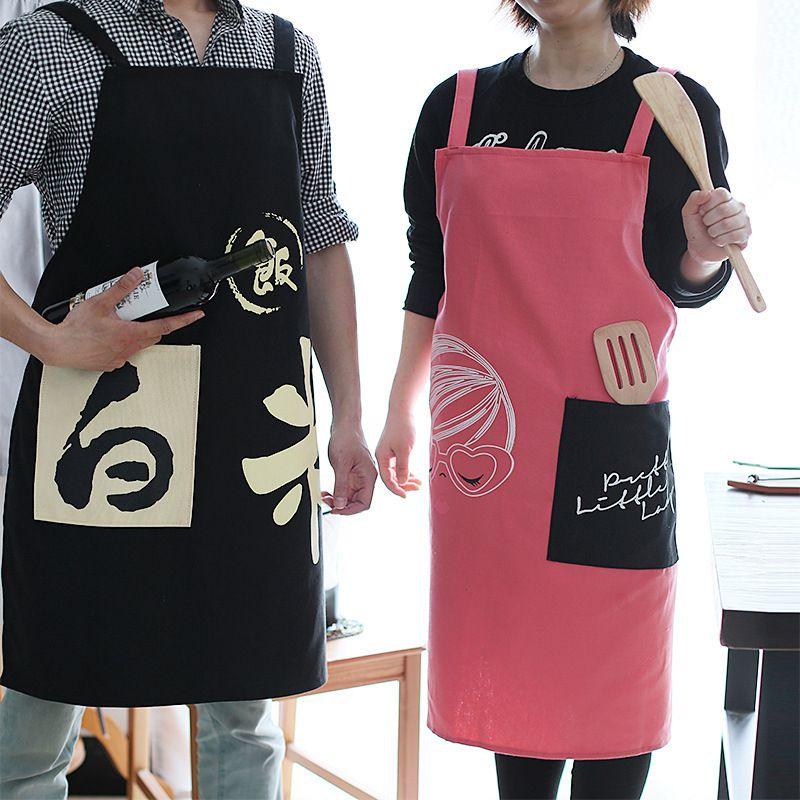 Фартук для женщин Хлопок Мужчины Старший BBQ Bib Chefer кухни Фартук платье Barber кофе варить ресторан Официантка Печать подарок