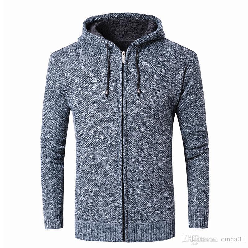 جاكيتات رجالي الصلبة الحياكة اللون معطف البلوز مقنع سترة التلبيب ريترو الدفء موضة ملابس الستر M-3XL