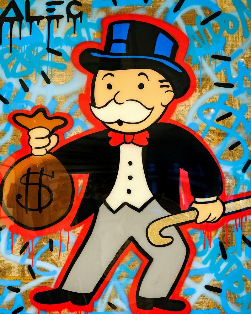 "Alec Monopoly Art Oil Painting Print On Canvas Home Decor/""Money Bag/""Framed"