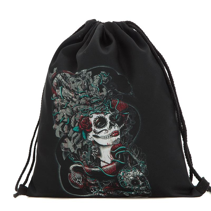 271676ccc3 39x30cm Harajuku Cute Cloth Drawstring Bags Canvas Black Skull Funny Kawaii  Storage Bags Backpack 3d Printed Womens Gift Bag