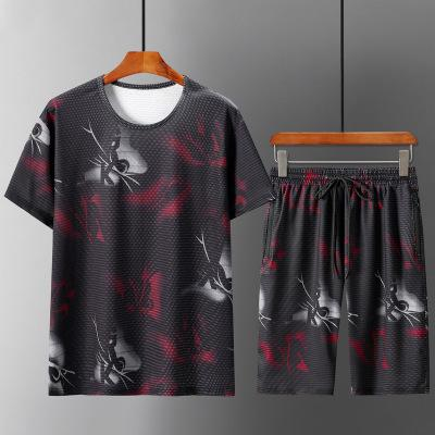 Abbigliamento maschile 2 piece set Mens Sport Suit estate a maniche corte t-shirt di tendenza più grasso più XL allentati casuali pantaloncini estivi