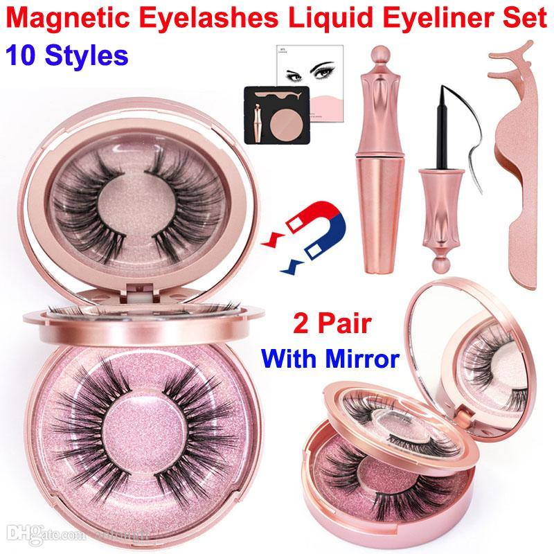 Manyetik Kirpikler Sıvı Eyeliner Seti 2 Çift Cımbız ile makyaj Ayna 5 Yanlış Kirpik mıknatıs 3D kirpik kullanımlık Hiçbir Tutkal Gerekli