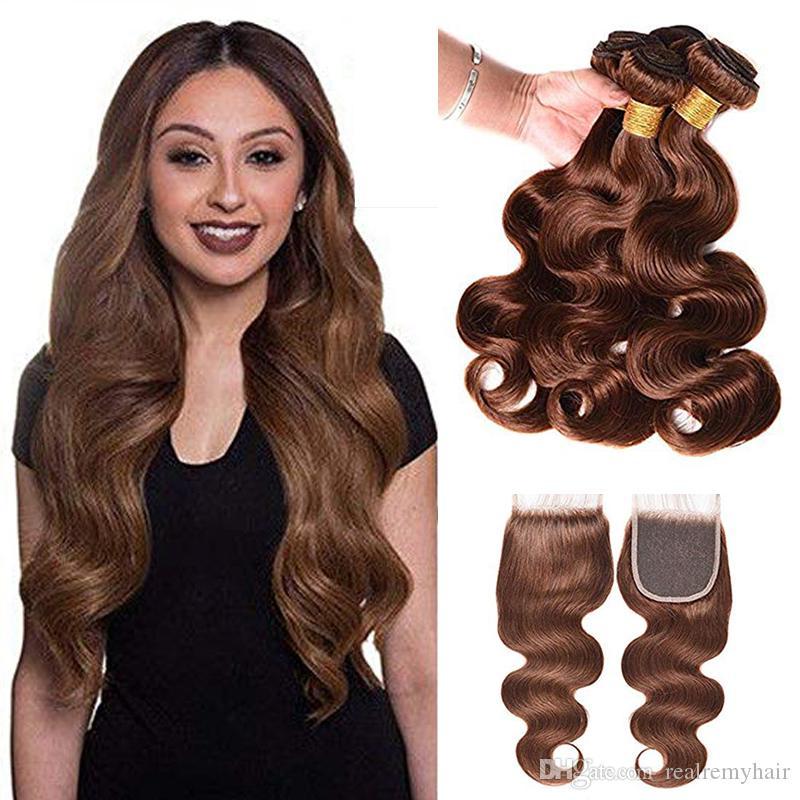 Farbe 4 Haarbündel mit Verschluss Hellbraune peruanische Körperwellenbündel mit Verschluss Menschliches Haarbündel mit 4x4-Verschluss