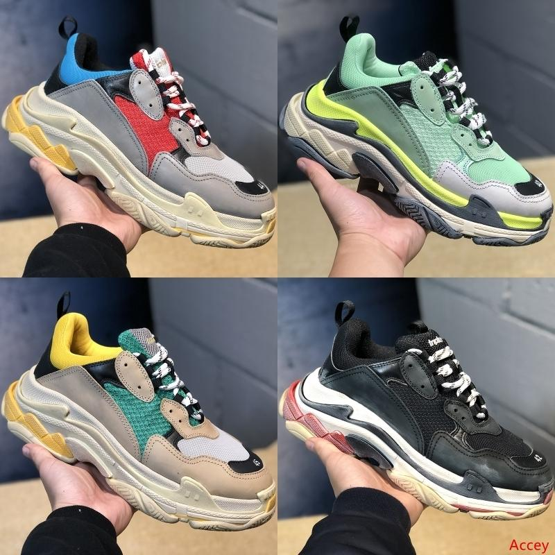 Lüks tasarımcı Moda Üçlü S 17FW erkek bayan ayakkabı Paris rahat ayakkabı erkekler kadınlar Runner Üçlü Siyah Çizme Düz ayakkabılar spor ayakkabı
