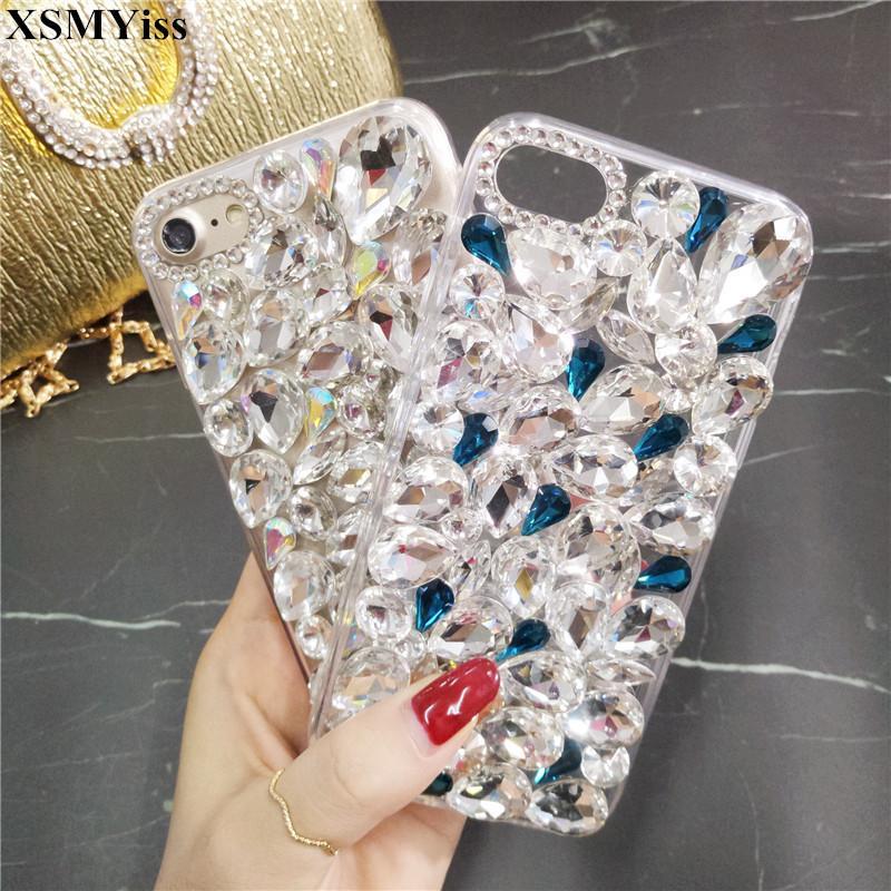 Diamant Bling Cristal Diamant Et Couverture Arrière Souple Pour Samsung Galaxy S4 S5 S8 S9 S6 / S7edge S8 / S9plus N4 N5