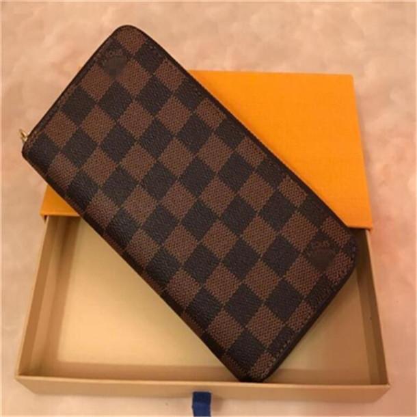 cuero diseñadores carpetas de las mujeres de Louis Vuitton monederos de las mujeres embrague bolsos de cremallera tarjeta de efectivo bolsa de la moneda