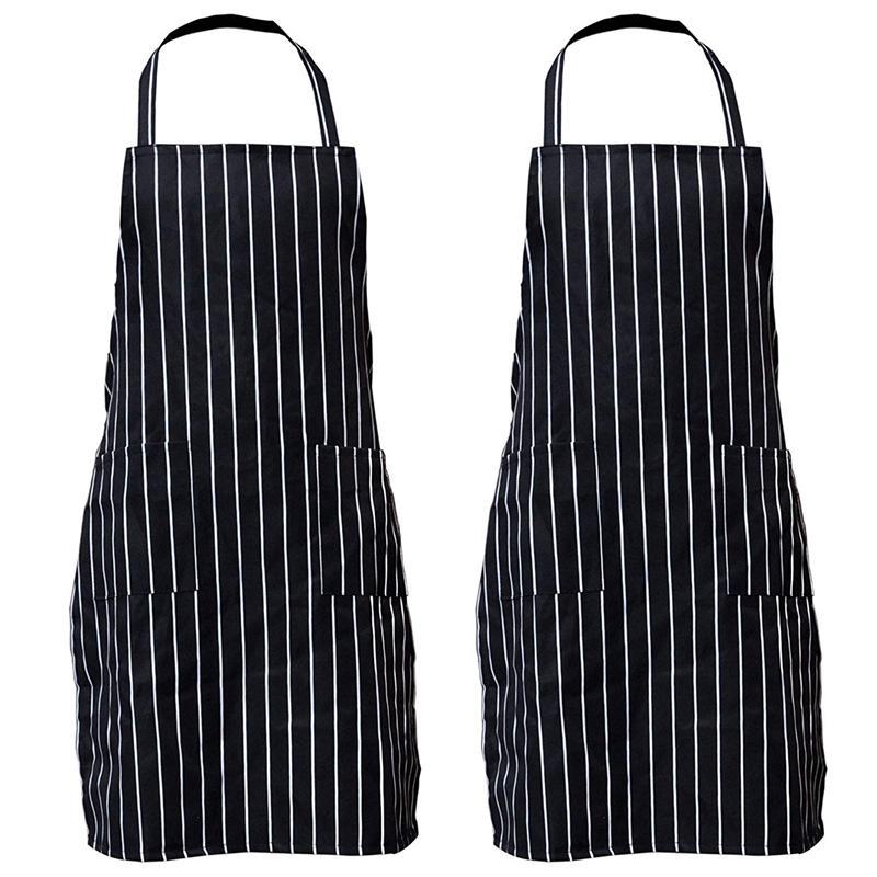 2 Пакет нашивки Bib Фартук с Карманы Черный Cooking кухни Chef Фартук подарок для женщин мужчин - 30,3 дюйма Длина По 24 дюймов Ширина