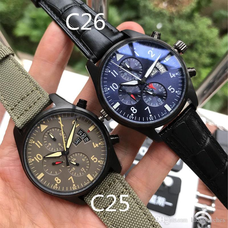 Luxury watch automatic mechanical movement 316 stainless steel case mineral glass mirror pilot six-pin weekday display fashion leather strap