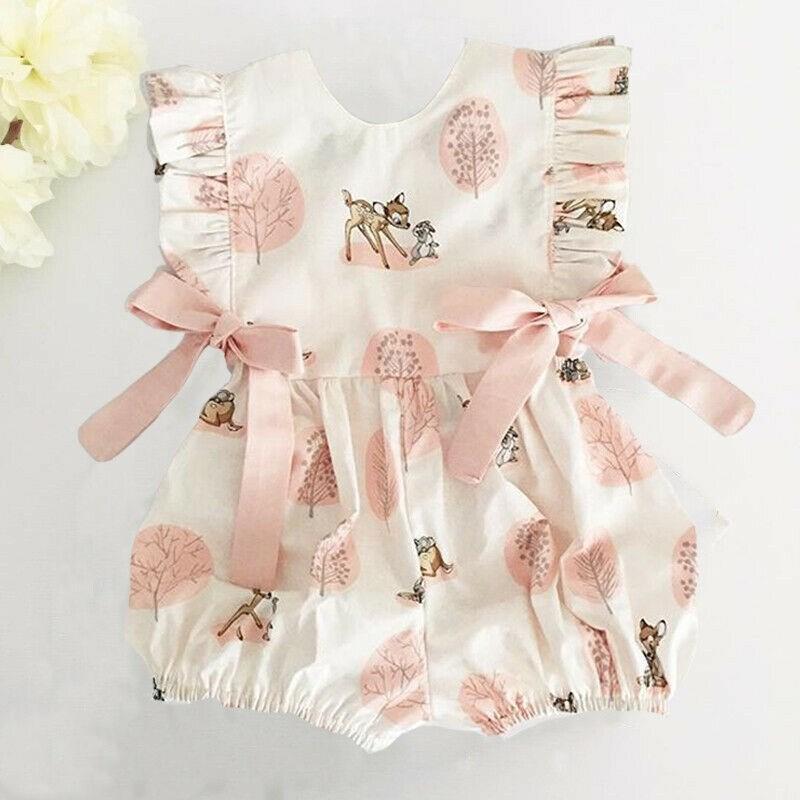 Pudcoco neue Ankunfts-Art- Neugeborenes Baby Deer Blumenspielanzug Bodysuit-Overall Kleidung Rüschen nettes Bogen-Outfit sunsuit
