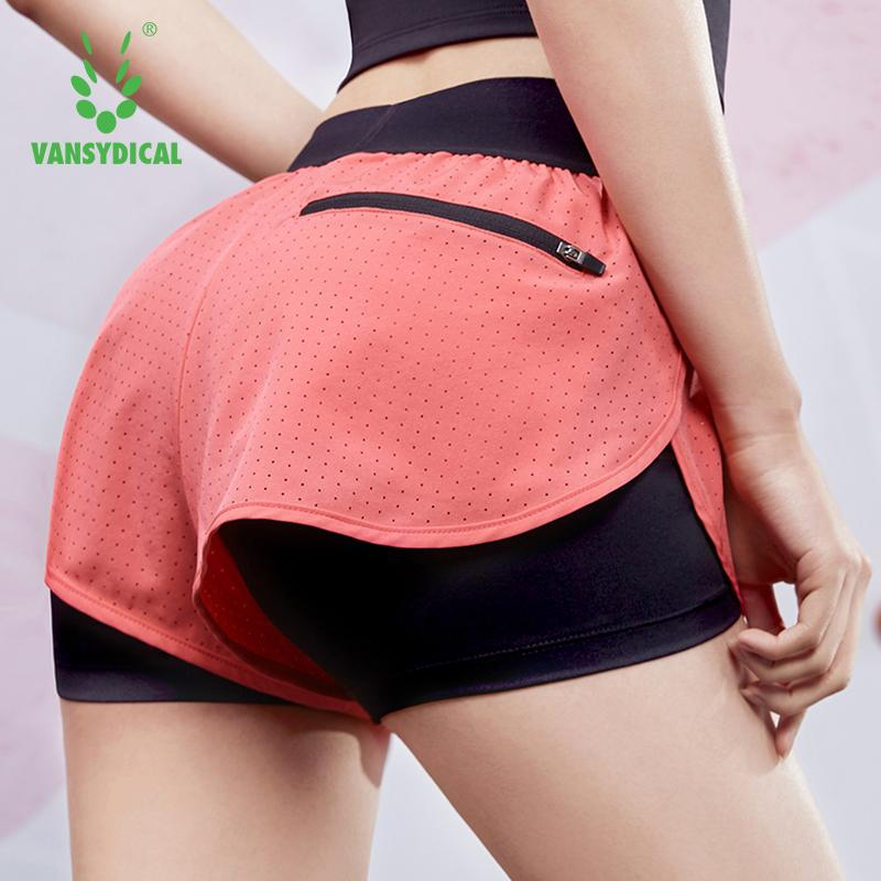 VANSYDICAL 2 in 1 Running Shorts Women Yoga Gym Short Trousers Double Layers With Pocket Fitness Workout Sport Shorts Women