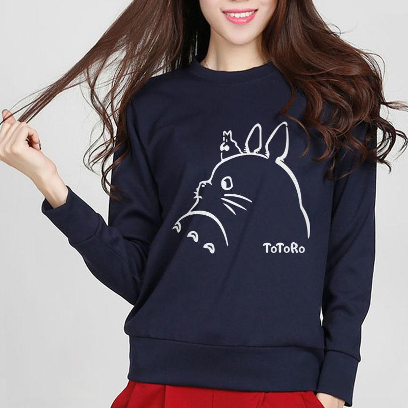 Caliente nuevo de las mujeres sudaderas con capucha Totoro impresión de la historieta de Primavera de invierno de mujeres sudadera con capucha del chándal de Kawaii Señora de Harajuku