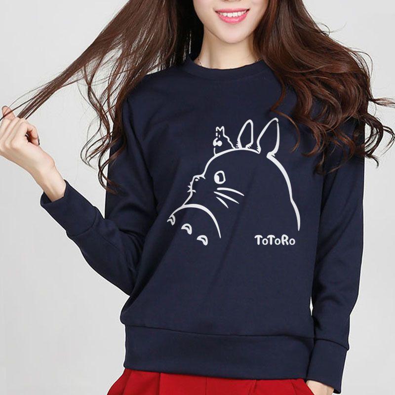 Hot New Mulheres hoodies camisolas Totoro impressão dos desenhos animados Primavera Feminino inverno camisola Kawaii Senhora Hoody Treino Harajuku