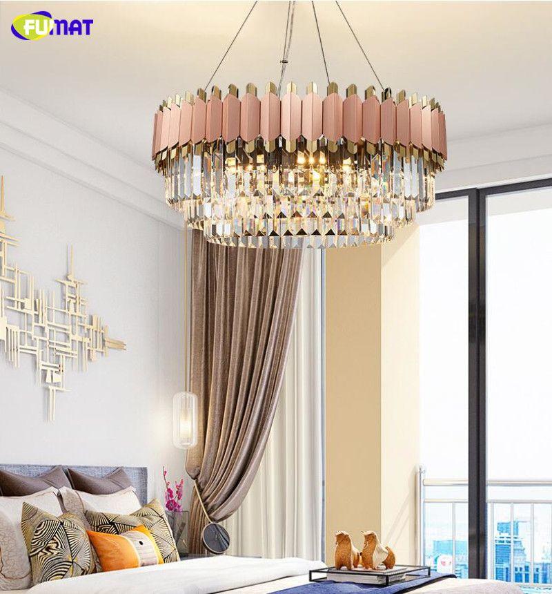FUMAT moderne lustre de luxe rose club or duplex design villa salle de modèle salon cristal ronde lampe de décoration de mariage LED