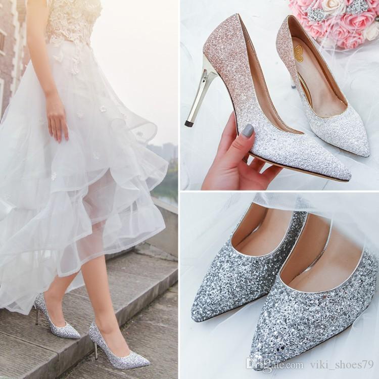 Кристалл Золушка обувь Котенок пятки женщин Потрясающие блеск Bling блестка серебро Люкс Свадебная обувь Размер 8 размер 7 Prom Party обувь