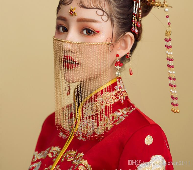 Vintage Wedding Accessories for Bride Chinese Classic Curtain Facial Mask Handmade Beads Long Tassel Bridal Wedding Face Jewelry