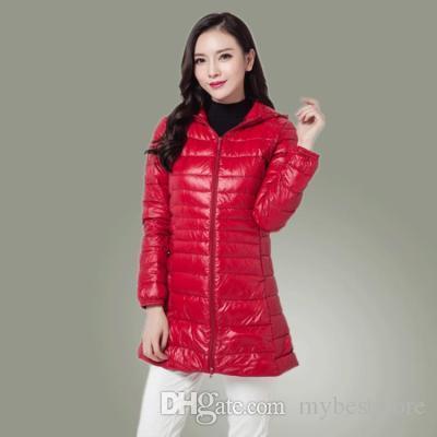 En gros 2018 blanc duvet de canard 90% Ultralight Down Manteau Longueur moyenne des femmes Manteaux d'hiver Designer Couleur 9 Taille Veste S-3XL hiver femme