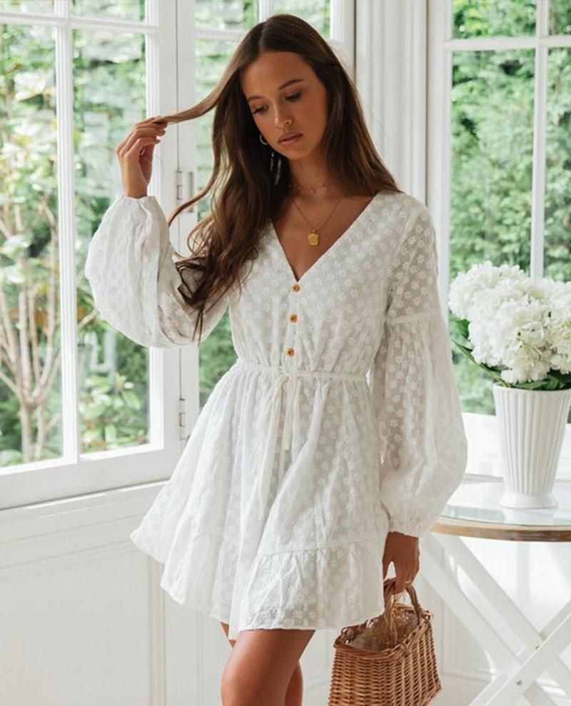 White Embroidered Ladies Dress Holiday Dress Jacquard Lace Panel V-Neck Dress SK003