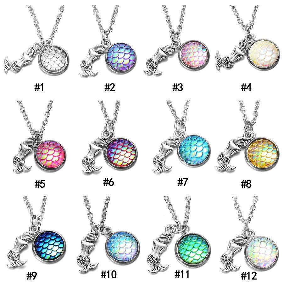 2019 sirena collares pendientes de resina redonda Bling escalas de peces encanto cadenas de eslabones para las mujeres regalo de la joyería de moda a granel