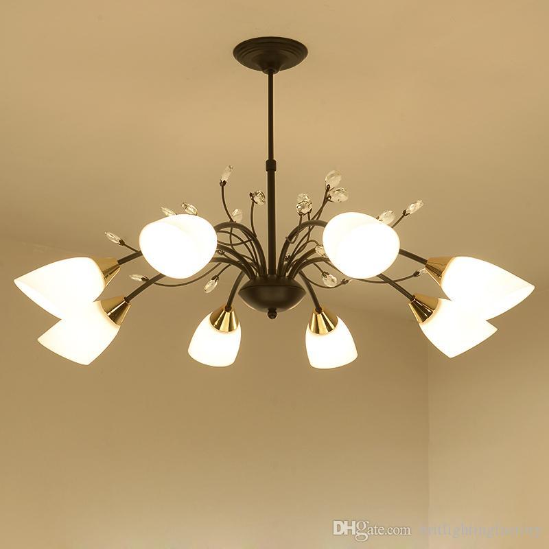 Retro Lustre Nórdico Iluminação Moderna Ferro Forjado Lustre de Cristal Quarto Sala de Jantar Luz Simples Sala de estar Decoração Luminária