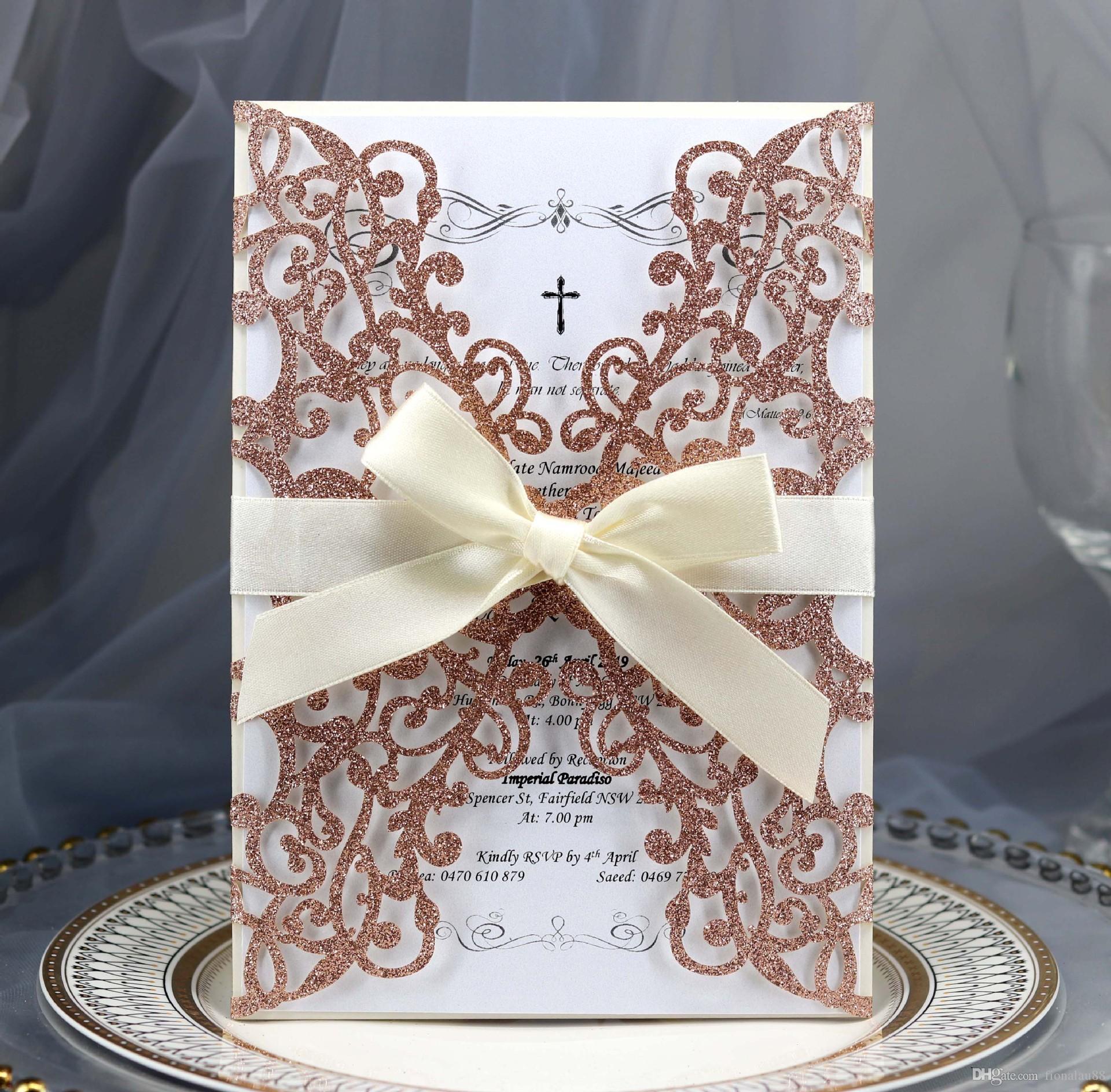 리본 결혼식 호의 공급 레드 퍼플 골드 샴페인 실버 결혼식 초대 카드 레이저 컷 꽃 개인 성인식에 초대