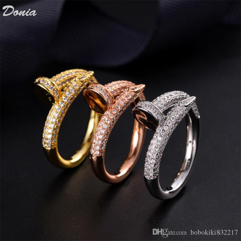 Dona Jewelry Hot Ring Fashion Set Zircone Nail Anello Europeo e American Creative Uomini e Donne Anello per uomo