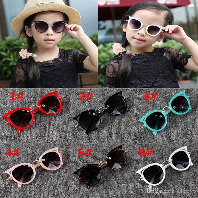 6 نمط لطيف الطفل القط العين النظارات الشمسية الاطفال الحيوان الكرتون uv400 نظارات الشمس الأطفال نظارات نظارات للبنات هدية DC262