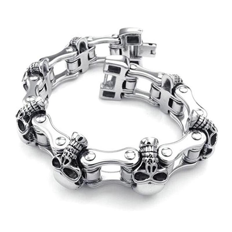 Braccialetto da uomo con teschio enorme da 23 mm, pesante acciaio inossidabile punk, motorycle, bicicletta, catena da bici, braccialetti da uomo, braccialetto da uomo