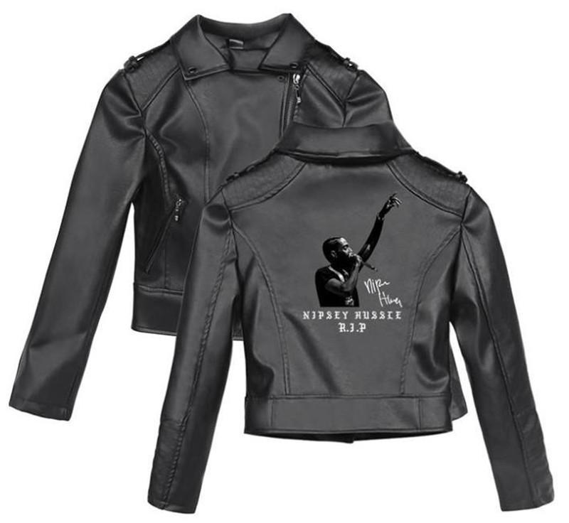 Женщины Nipsey Hussle Pattern Print С Застежкой-Молнией Кожаная Куртка Плюс Размер С Длинным Рукавом Женское Пальто Подростковый Стиль