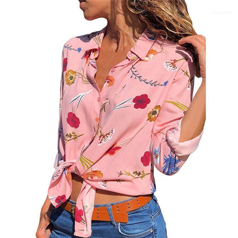 Verano de las mujeres camiseta de la solapa de la muchacha floral de la gasa Ropa cuello Impreso de manga larga de verano Camisa del diseñador