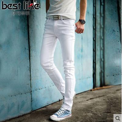 aeda6504ba Alta calidad 2019 moda hombre delgado pantalones vaqueros blancos hombres  pantalones casuales para hombre pantalones lápiz flacos niños hip hop  pantalon ...