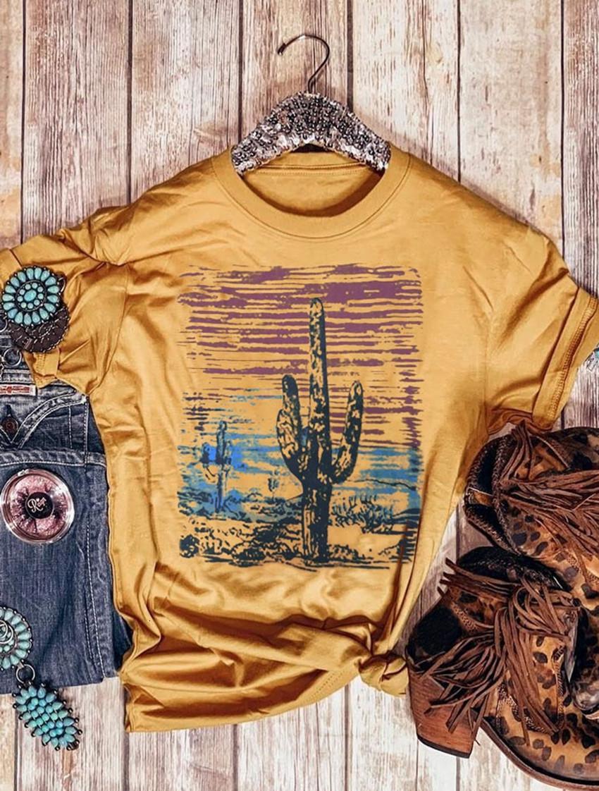 2020 Мода лето Топы женщин футболки O-образным вырезом Cactus Закат с коротким рукавом футболки Повседневная одежда Женская Tee Топы Женский тройники