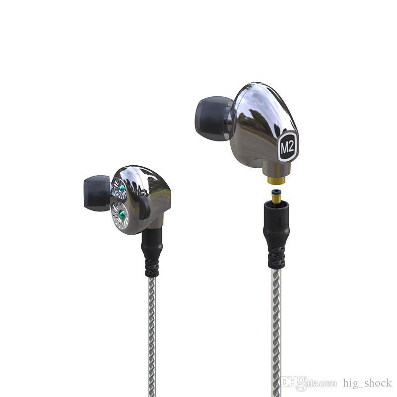 M2 M2S Fone de Ouvido Controle de Cabo In-Auricular Redução de Ruído HiFi Subwoofer Headset Dual Dinâmico Drivers Wireless Sports Fones de ouvido