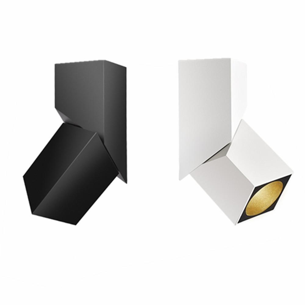 10pcs Siyah / Beyaz 360 ° dönebilen 90 ° Katlanabilir LED COB Yüzey Sıva 10W / 12W / 15W 3000K / 4000K / 6000K Tavan Spot Işığı Monteli