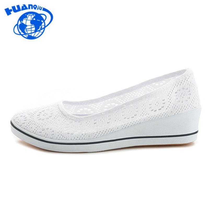 Huanqiu 2018 New Canvas Nurse Chaussures solides Femmes Plateforme Chaussures Femmes Casual fond plat Feminino Chaussures Femme Blanc Noir
