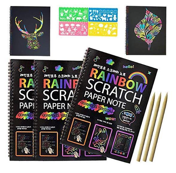 Ahşap Kalem Çocuklar Notlar Kurulları Noel Partisi Doğum Oyun Hediye 10.3X7.5 inç ile Sihirli Çizilmeye Sanat Kitap Gökkuşağı Çizilmeye Kağıt Notebook