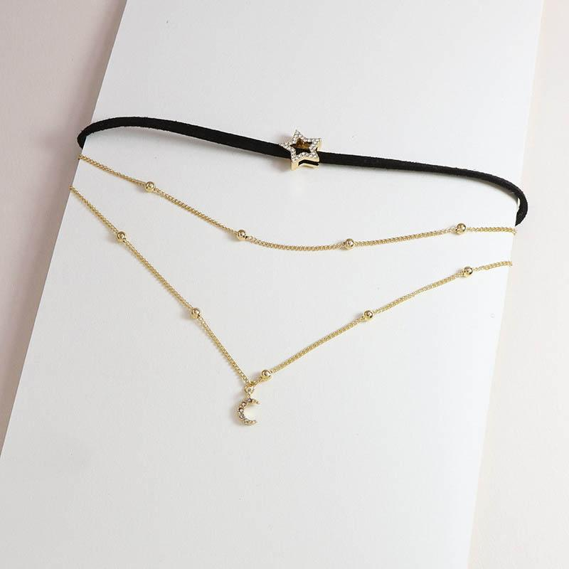 2020 New Trendy Gold Chain Triple Layers Star Crescent Moon Choker Minimalism Necklace Korean Fashion Party Jewelry