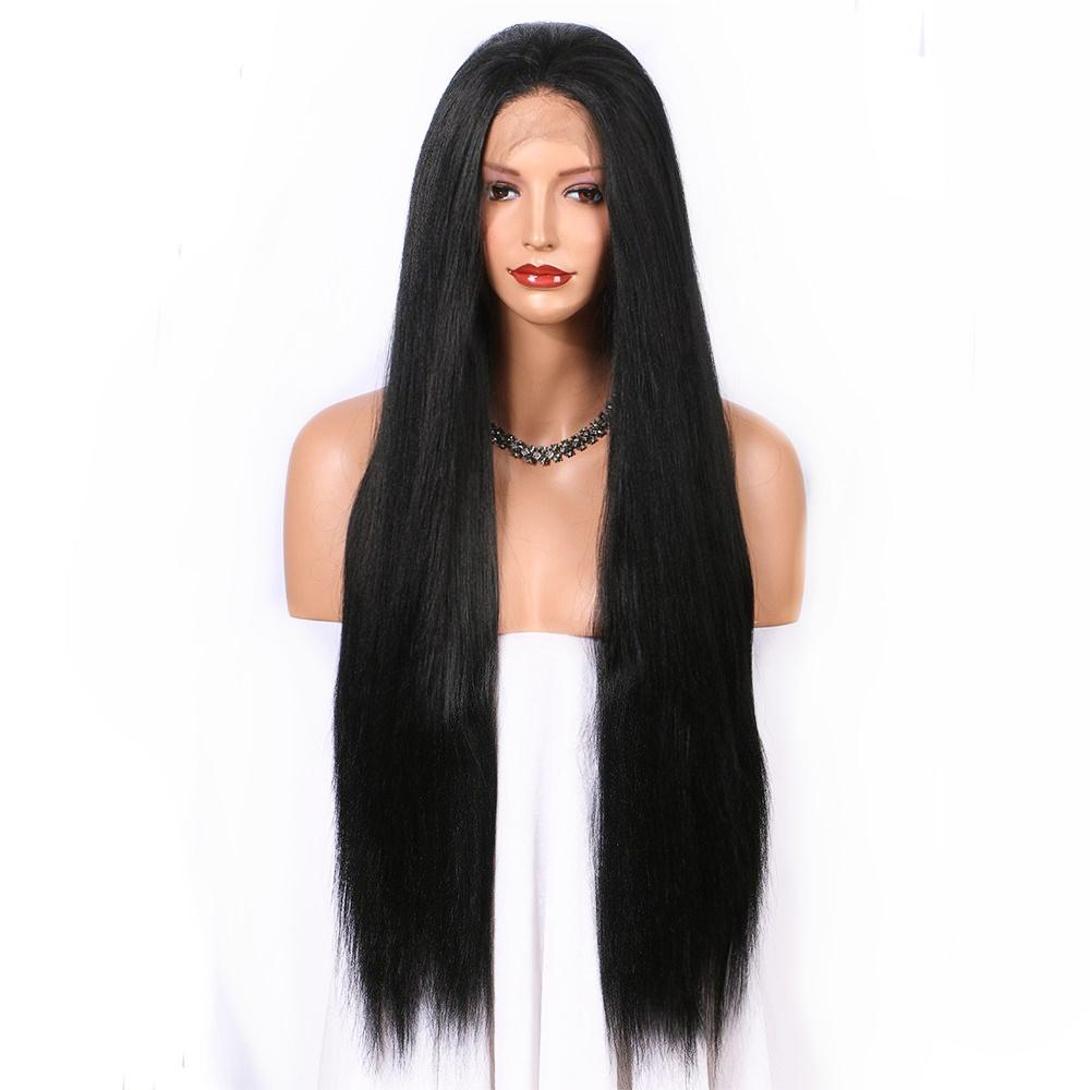 Free Shipping Long Black Wig Straight Synthetic Lace Front Wig 24 Inches Natural Wigs for Women Middle Part Glueless High Temperature Fiber