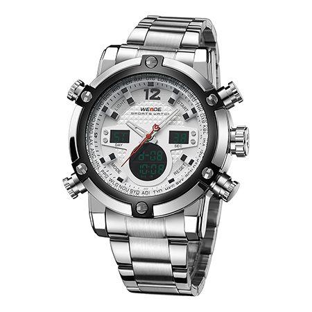 WEIDE Hombres Reloj electrónico digital automático LCD Relojes de camping Reloj de pulsera de cuarzo Led Reloj de acero inoxidable Sport Orologio WH5205