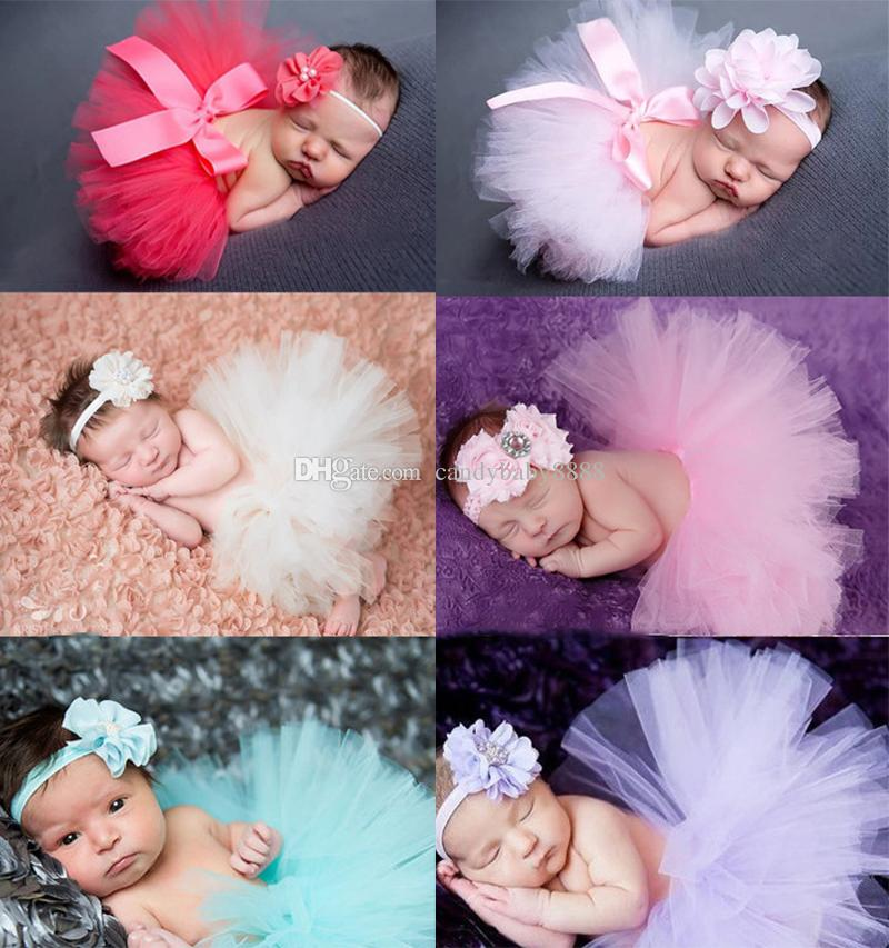 nouveau-né Tutu Jupes + avec bandeau set mode fil net bébé robe maille filles jupe costume d'Halloween dentelle 17 couleurs enfants jupe c1522