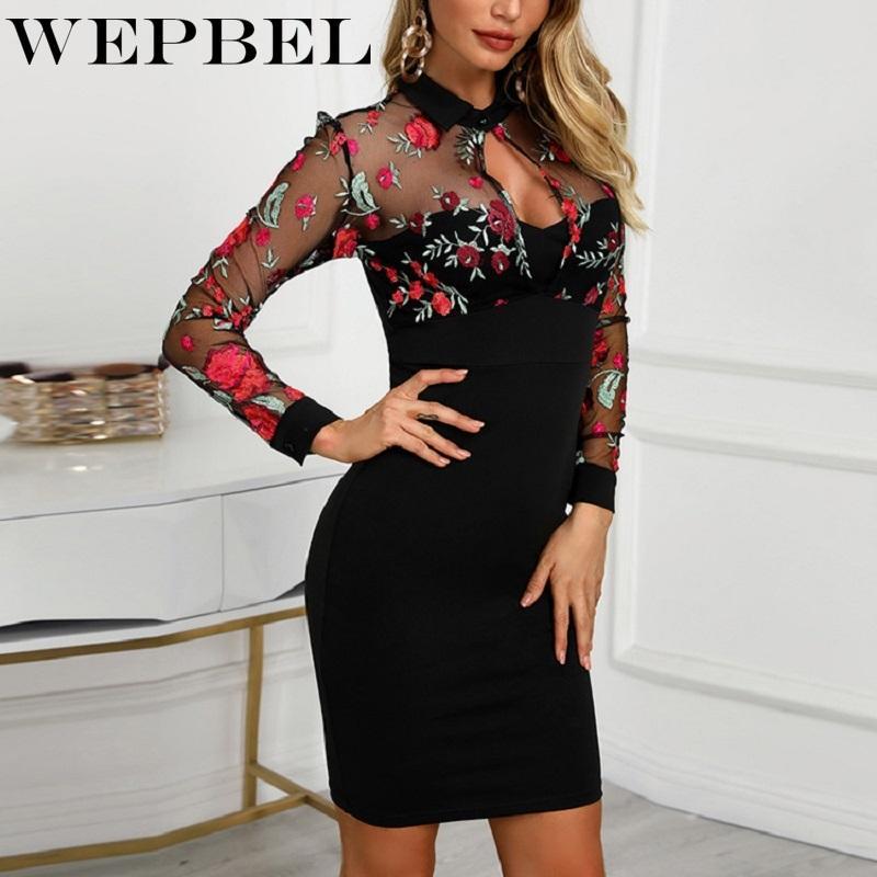 WEPBEL Vestido Mulheres manga comprida Floral Imprimir malha Patchwork Moda de Slim Casual Vestidos Work Office Lady Vestidos