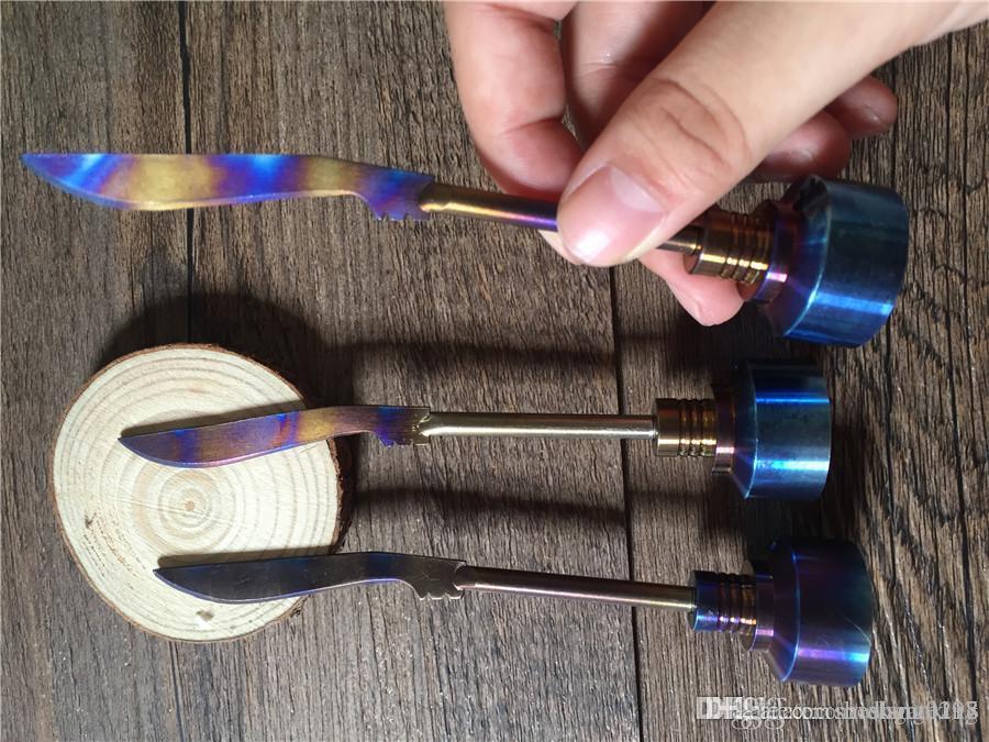 Arco-íris Titanium Carb Cap Ferramenta Domeless Titanium Ti prego 14 milímetros 18 milímetros Titanium espada Ferramenta Dab com Carb Cap Dabber