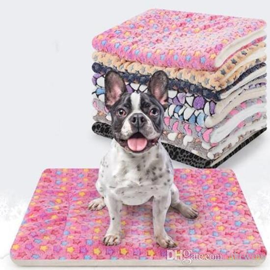Flanela Blanket Pet Estrela 3D Pegadas mármore Impresso Dog Cat Inverno Quente espessamento colchão animais Dormir Mat WY261Q