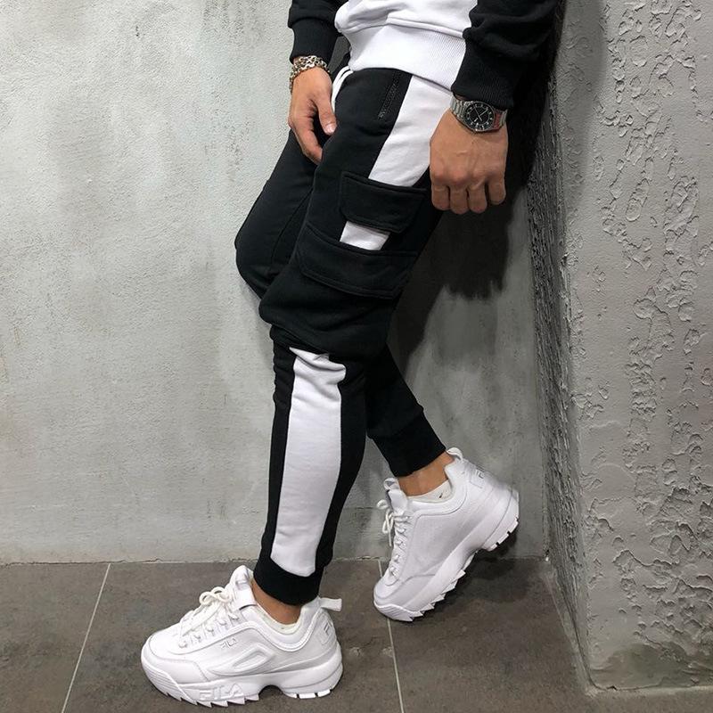 Hot Mens Sweatpants Multi Pocket Side Stripe Hip Hop Track Pants Street Wear Skinny Jogger Sweatpants Elastic Waist Male Casual Trousers